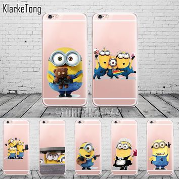 Funny Cartoon Despicable Me Yellow Minions design Cases For iphone 6 6s 8 5 5s se 7 plus X Case Soft Silicone Transparent Cover