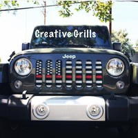 American Flag Red Line (Black & White) / Jeep Grill (1-2 Week Delivery)