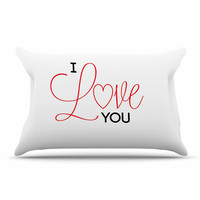 "NL Designs ""I Love You"" White Red Pillow Sham"