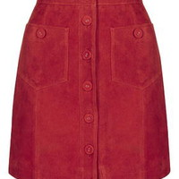 TALL Button Suede Skirt - Skirts - Clothing
