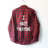 I Hate Everyone New Casual Men Plaids Checks Flannel Blouse Shirts Men Long Sleeve Tops plus size
