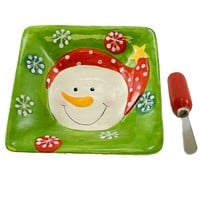 Tabletop SNOWMAN DISH SPREADER SET Ceramic/Stainless Steel Christmas 80735 RED