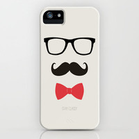 STAY CLASSY - MUSTACHE & BOW TIE  iPhone Case by Allyson Johnson