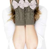 TAUPE FINGERLESS MITTENS, fingerless knit gloves with bow, taupe knit gloves, knit bow gloves