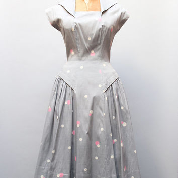 vintage 1950s polka dot dress. gray silk