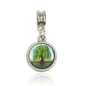 Old Weeping Willow Tree European Style Bracelet Silver Charm