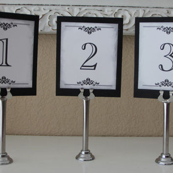 Handmade Table Numbers, Elegant Design, Black Tie Event, Wedding, Special Event, Reception, Single Sided