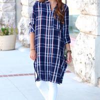 Long Length Side Slit Plaid Top {Navy+Burgundy}