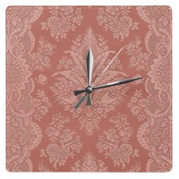 Intricate Vintage Floral in Melon Wall Clocks from Zazzle.com