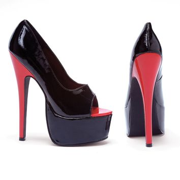 Women's 6.5 Inch Stiletto Heel Open Toe Pump (10,Black/Red)