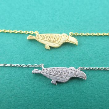 Tribal Macaw Parrot Silhouette Shaped Pendant Necklace in Gold or Silver