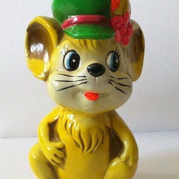 Vintage Holiday Fair Neon Chalkware Mouse Bank