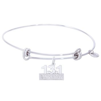 Sterling Silver Balanced Bangle Bracelet With Marathon 13.1 W/Diamond Charm