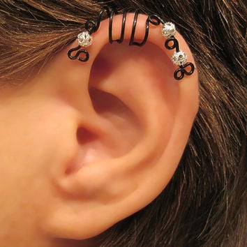 "No Piercing ""Black & Silver Peacock"" Cartilage Ear Cuff for Upper Ear 1 Cuff WIRE COLOR CHOICES"