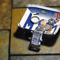 "Upcycled Small Texas License Plate Change Bowl ""The Lone Star State"""