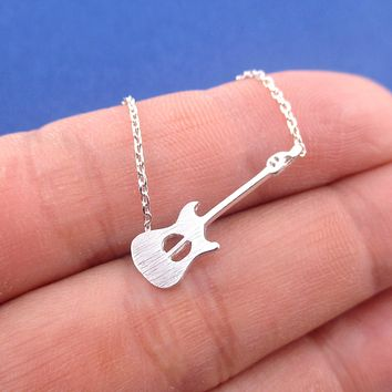 Minimal Electric Bass Guitar Silhouette Shaped Musical Instrument Pendant Necklace