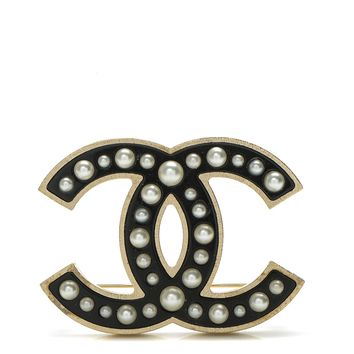 CHANEL Pearl Enamel CC Brooch Black Gold