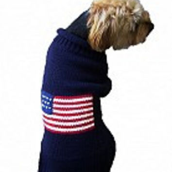 Navy Flag Dog Sweater