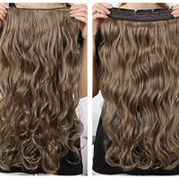 "OneDor® 20"" Curly 3/4 Full Head Synthetic Hair Extensions Clip on/in Hairpieces 5 Clips 140g (18#-Light Ash Brown)"