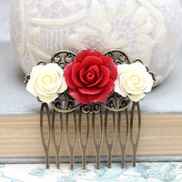 Red Rose Hair Comb Winter Wedding Vintage Style Cream Rose Bridal Hair Comb Floral Collage Decorations for Hair Antique Brass Filigree Comb
