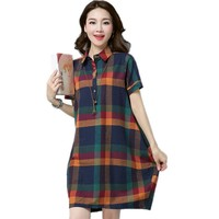 2017 New Fashion Plaid Print British Style Dress Cotton Linen Women Summer Dress Plus Size Casual Vintage Party Dress Vestidos