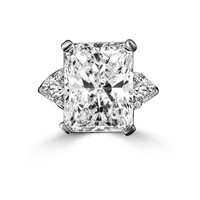 15 CT. Intensely Radiant Classic Style Ring w/two 1.50 CT. Triangular Sides Simulated Diamond - Diamond Veneer Sterling Silver Ring. 635R72098