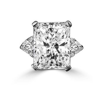 Intensely Radiant Rectangular Classic Style Diamond Veneer Cubic Zirconia with Two 1.50 CT. Triangular Side Sterling Silver Ring. 635R72098