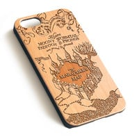 Vintage Disney Map Natural wood iPhone case laser engraved iPhone case WA016