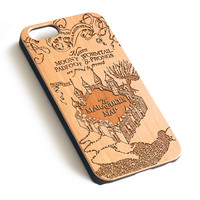 Vintage Disney Map Natural wood iPhone case laser engraved iPhone 7 6 6S Plus case WA016