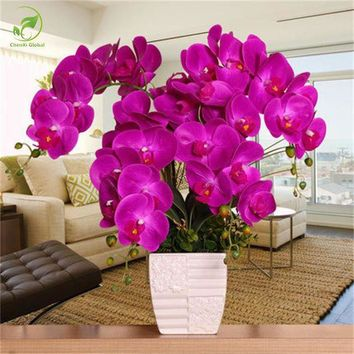 ONETOW Fashion Orchid Artificial Flowers DIY Artificial Butterfly Orchid Silk Flower Bouquet Phalaenopsis Wedding Home Decoration