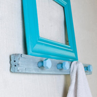 Rustic Wall Hooks & Floating Ledge Shelf with Upcycled Industrial Hardware - Aqua, Turquoise, Tiffany Blue