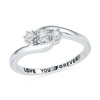 Diamond Accent Three Stone Slant Promise Ring in Sterling Silver (1 Line)