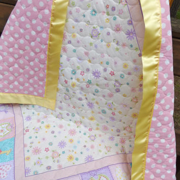 Sale - Pastel Florals Large Crib Quilt with Satin Binding - Pink, Lavender, Yellow, Aqua, Green - Whole Cloth Machine Quilted Baby Quilt