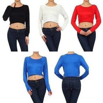 Sexy Solid Plain Round Neck Long Sleeve Basic Knit Cropped Belly Top Sweatshirt