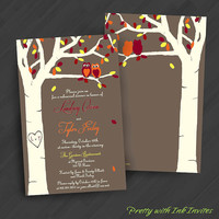 Love's a Hoot Fall Version Invitations for Engagement/Shower/Wedding/Birthday/Your Special Event (Shown in Fall Colors)