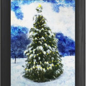 Landscape Christmas tree Digital Painting signed art print A2 59 x 42 cm 23 inches 16 inches  nature impressionist
