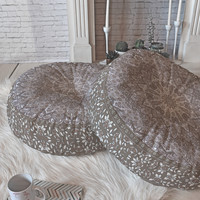 Aimee St Hill Farah Neutral Floor Pillow Round