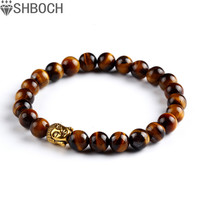 Buddha beads Bracelets Bangles Natural Stone Charm Bracelets For Women and Men Jewelry 2015 Bracciali lava pulseiras