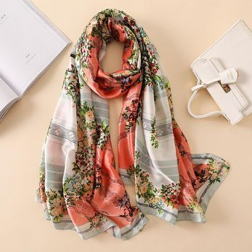 Luxury Brand New Summer Women's Scarf Fashion Lady Silk Scarves Floral Print Soft Shawls Pashmina Foulard Femme Long Bandana