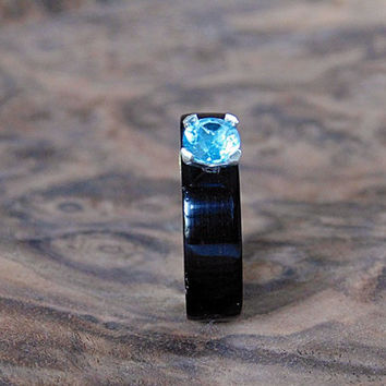 Ebony Wood Engagement ring London Blue Topaz bentwood ring