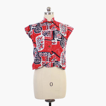Vintage 50s Hawaiian TOP / 1950s Red & White Tribal Print Tea Timer Blouse XS