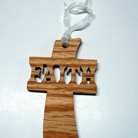Cross Ornament With Inspirational Word Faith Handcrafted from Oak Wood
