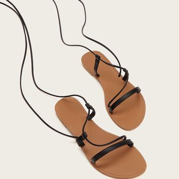 Strappy Lace-up Flat Sandals