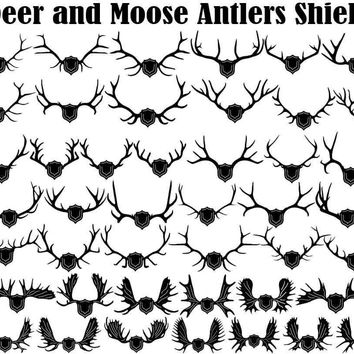 Deers and Mooses Antlers with Shield and Arrows
