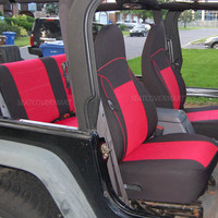 Neoprene Car Seat Cover Full Front&Rear BLACK Red for TJ 1997-2002 Jeep Wrangler