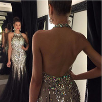 Black And Gray Luxury Rhinestone Sexy Backless Prom Party Dress 2016 Robe De Bal Courte Long Graduation Formal Occasion Gowns