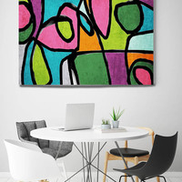"""Vibrant Colorful Abstract-0-42. Mid-Century Modern Pink Green Canvas Art Print, Mid Century Modern Canvas Art Print up to 72"""" by Irena Orlov"""