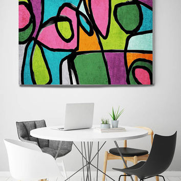 "Vibrant Colorful Abstract-0-42. Mid-Century Modern Pink Green Canvas Art Print, Mid Century Modern Canvas Art Print up to 72"" by Irena Orlov"