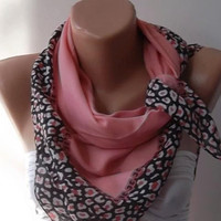 Fashion Cotton Scarf  salmon pink - and Leopard