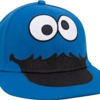 Sesame Street Cookie Monster Face Fitted Flat-bill Hat,Blue, Small